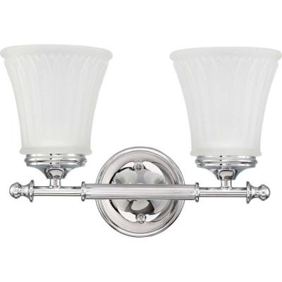 Lamberta 2-Light Polished Chrome Bath Vanity Light with Frosted Etched Glass