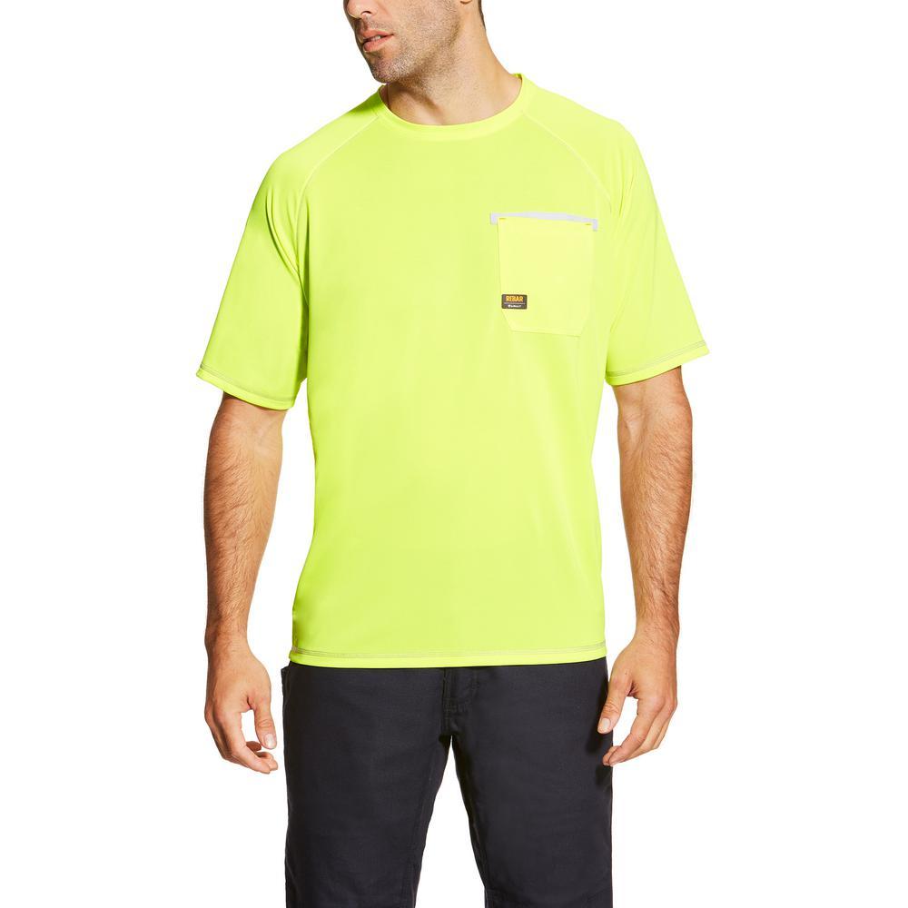 Men's Size X-Large Lime Rebar Sunstopper Short Sleeve Work Shirt