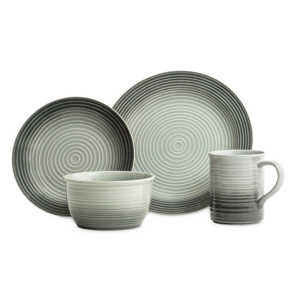 Gradient Grey 16 Piece Dinnerware Set in Ceramic