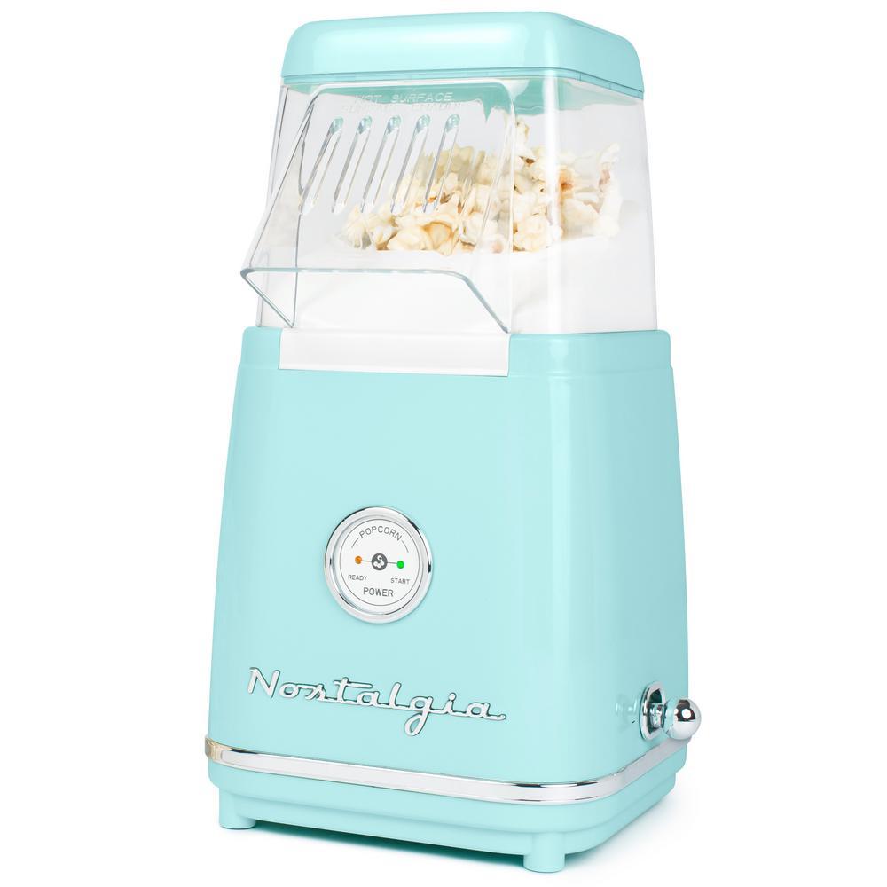 1040 W x 96 oz. Aqua Hot Air Popcorn Maker with LED Power Gauge