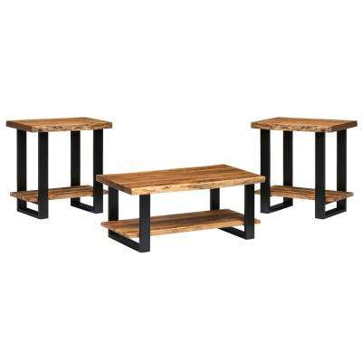 42 in. Alpine Natural Live Edge Coffee Table and Set of 2 End Tables