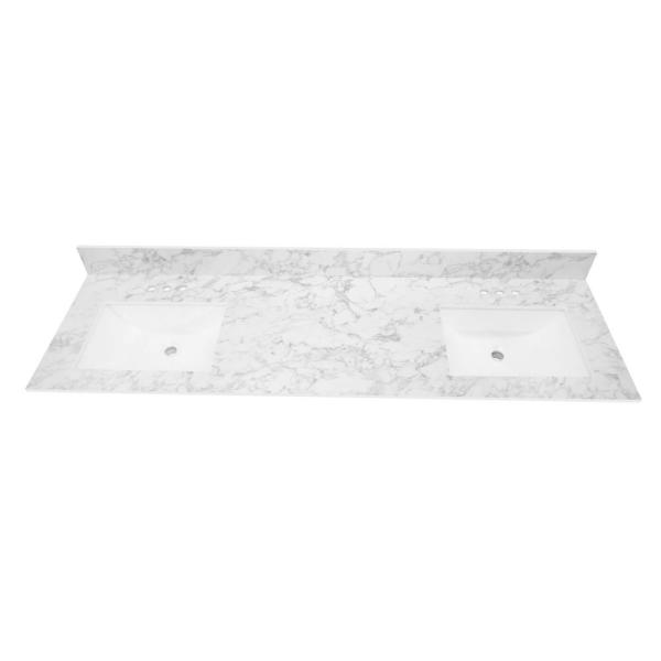 73 in. W x 22 in. Vanity Top in Volakas Marble with Double White Sinks and 4 in. Faucet Spread
