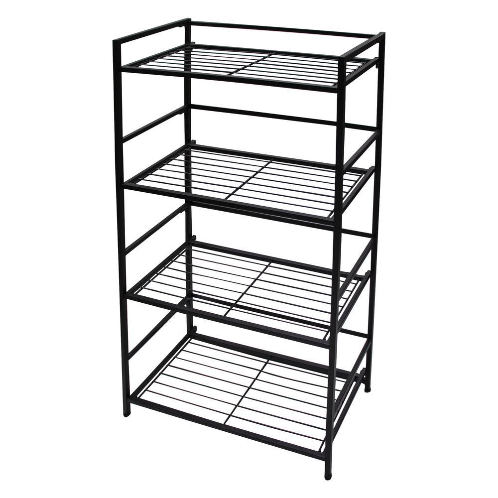 12 in. x 26.5 in. x 43 in. Black 4 Shelf Wide Unit Decorative Shelf
