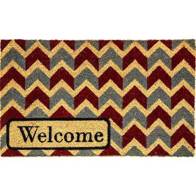 Aspen Welcome Blue/Red Chevron 18 in. x 30 in. Door Mat