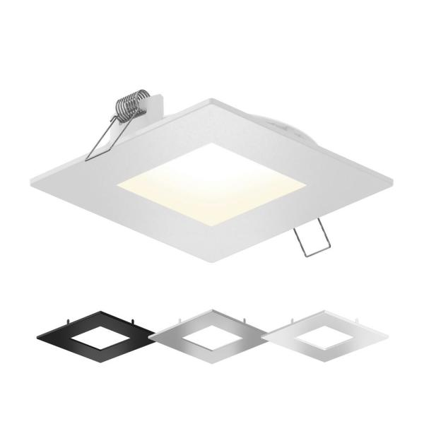 4 in. Color Selectable New Construction or Remodel IC Rated Recessed Integrated LED Square Kit