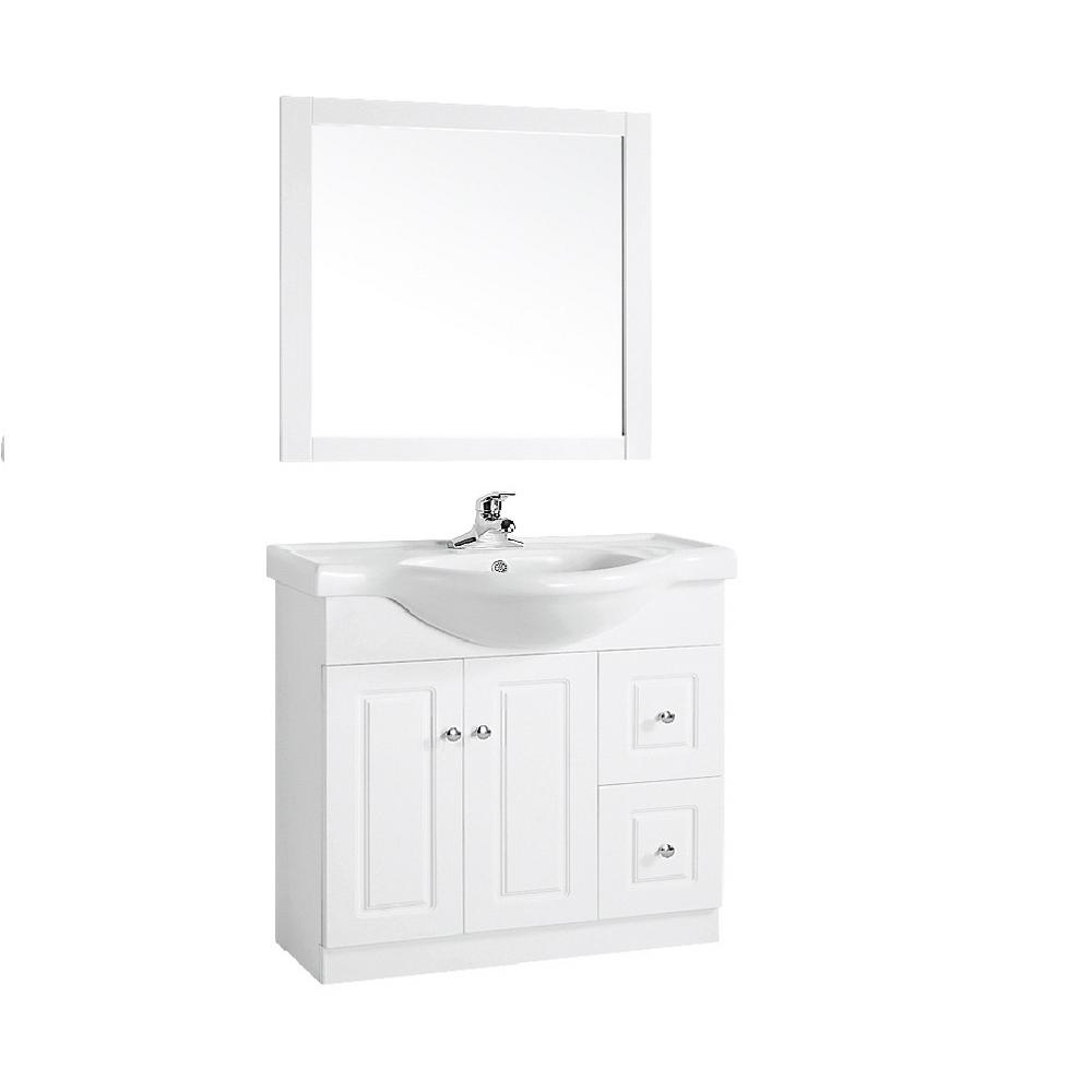 Dreamwerks 32 In W X 12in D 27 H Vanity White Veneer Finish With Marble Top Mwt102 The Home Depot