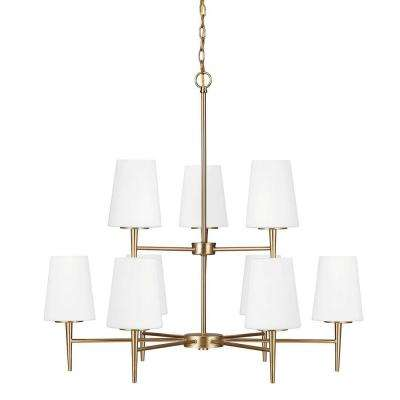 Driscoll 9-Light Satin Bronze Chandelier with Inside White Painted Etched Glass