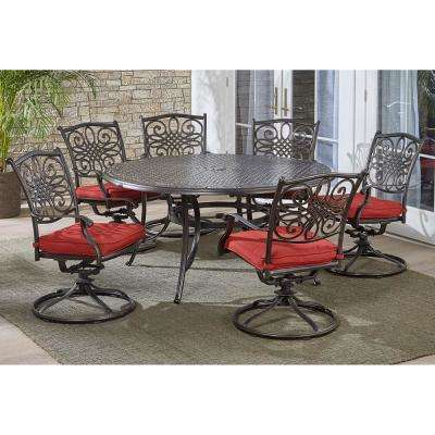 Traditions 7-Piece Aluminum Outdoor Dining Set with 6 Swivel Rockers with Red Cushions and Cast-Top Table