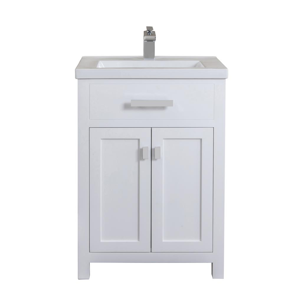 Water Creation Myra Collection 24 In Bathroom Vanity In Pure White With Ceramics Vanity Top In White Vanity Only Myra24w The Home Depot