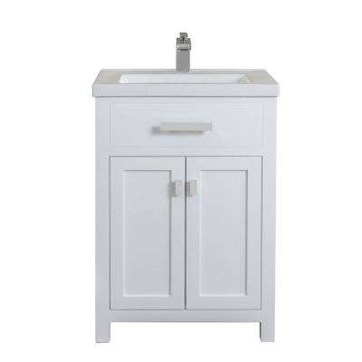 Myra Collection 24 in. Bathroom Vanity in Pure White with Ceramics Vanity Top in White - Vanity Only