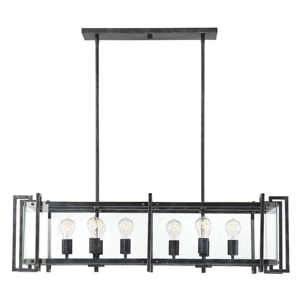 Filament Design 8-Light Black Steel Chandelier with Clear Glass