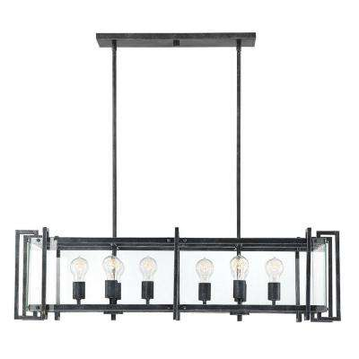 8-Light Black Steel Chandelier with Clear Glass