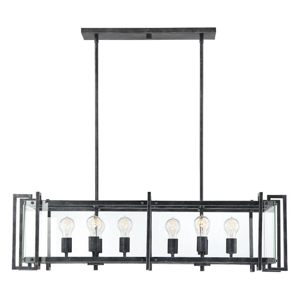 8-Light Black Steel Chandelier with Clear Glass