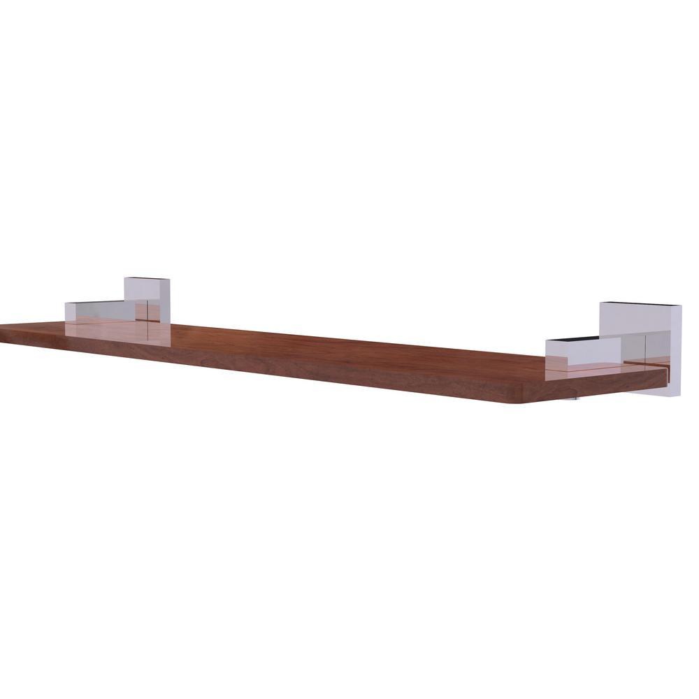 Montero Collection 22 in. Solid IPE Ironwood Shelf in Polished Chrome