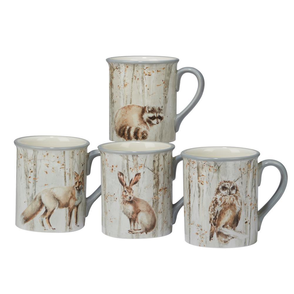 A Woodland Walk 18 oz. 4-Piece Grey and Sepia Mug Set