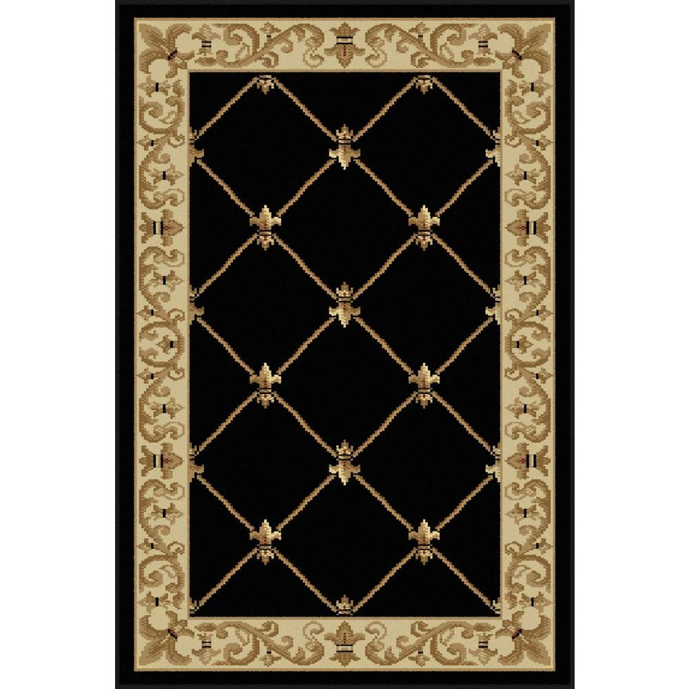 Tayse rugs sensation black 2 ft x 3 ft traditional area for Floor depot new orleans