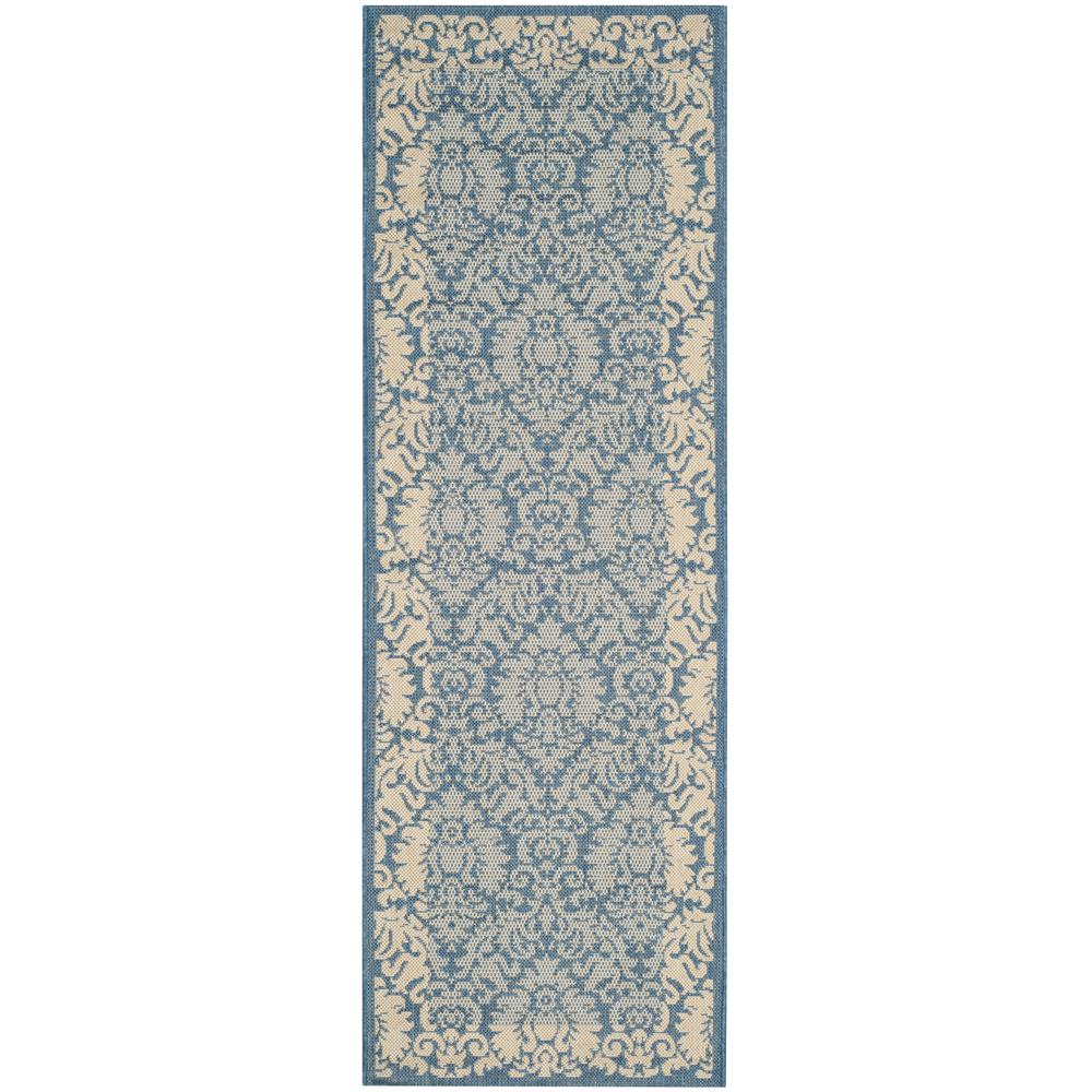 Courtyard Blue/Natural 2 ft. 3 in. x 10 ft. Indoor/Outdoor Runner