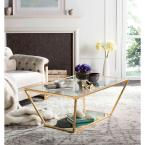 Allene 48 in. Gold Large Rectangle Glass Coffee Table