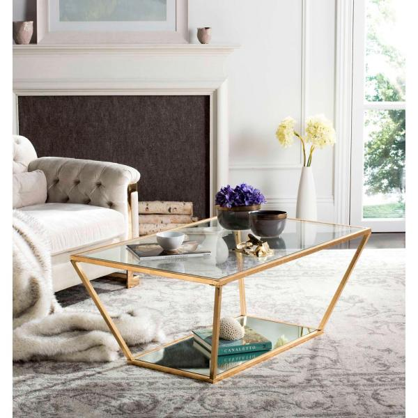 Safavieh Zola Glass/Gold Coffee Table MMT6000B