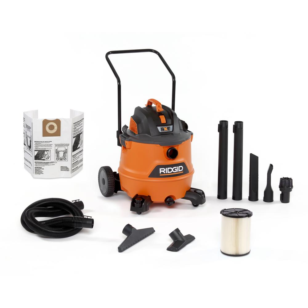 RIDGID 16 Gal. 6.5-Peak HP NXT Wet/Dry Shop Vacuum with Cart, Filter, Hose and Accessories