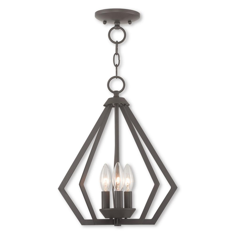 Prism 3 Light Bronze Convertible Mini Chandelier/Ceiling Mount