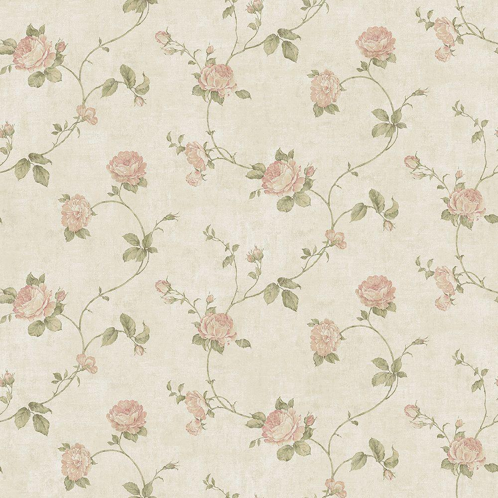 Chesapeake Darby Rose Blush Trail Wallpaper