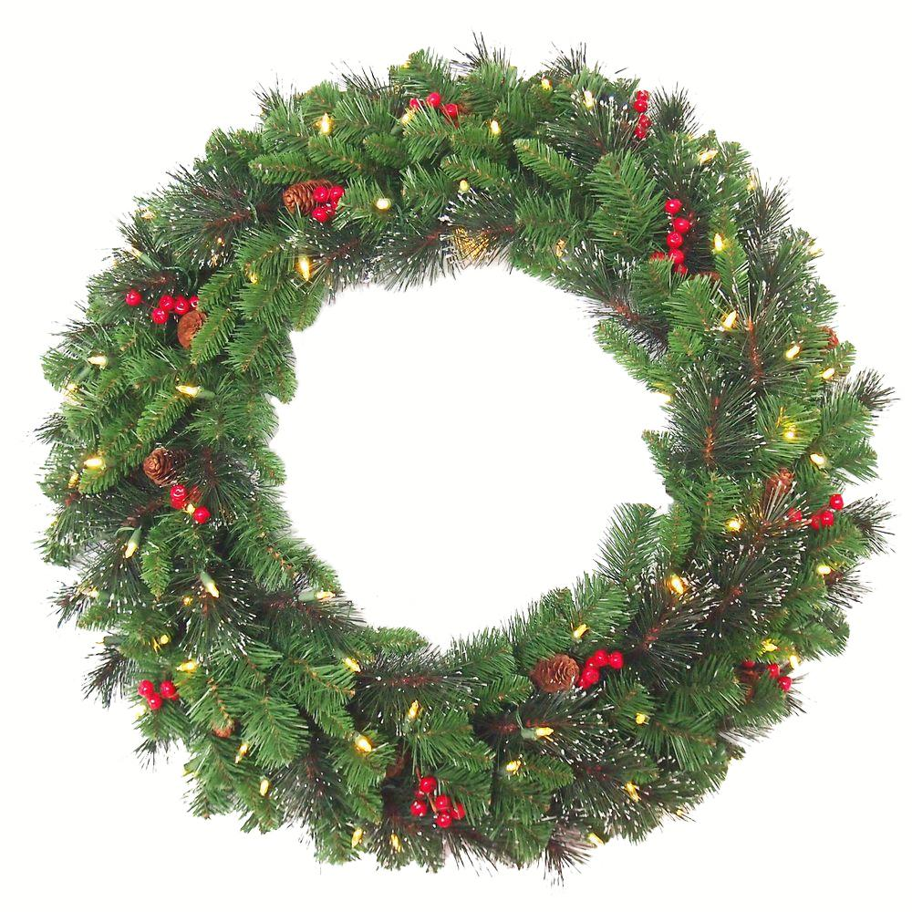 crestwood spruce artificial christmas wreath with 70 white battery operated - How To Decorate Artificial Christmas Wreath
