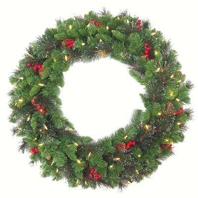30 in. Crestwood Spruce Artificial Christmas Wreath with 70 White Battery Operated LED Lights with Timer