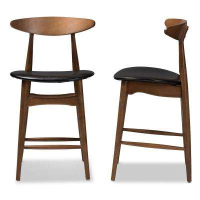 Flora 24 in. Black Counter Stool (Set of 2)