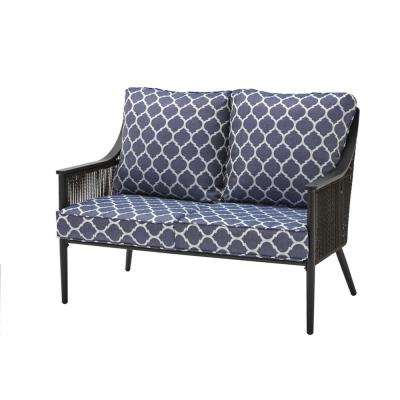 Bayhurst Black Wicker Outdoor Patio Loveseat with CushionGuard Midnight Trellis Navy Blue Cushions