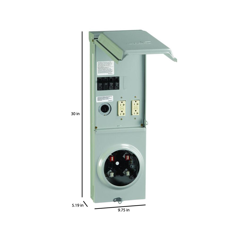 GE Temporary Power Box 100 Amp Ringless Metered 2 Installed Circuit Breakers