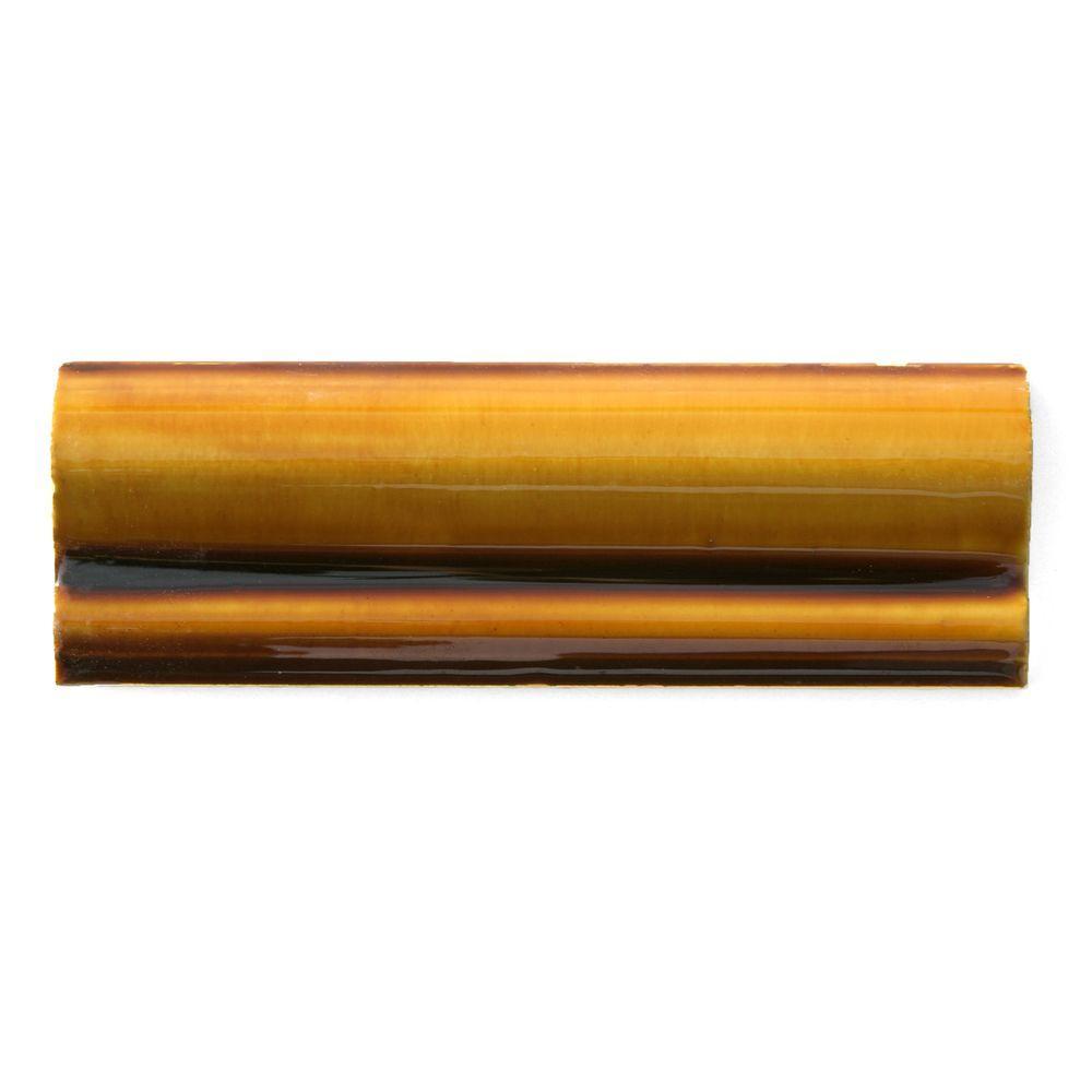 6 Chair Rail Part - 26: Solistone Hand-Painted Tangerine Orange 2 In. X 6 In. Ceramic Chair Rail  Trim Wall Tile-TANGERINE-CR - The Home Depot