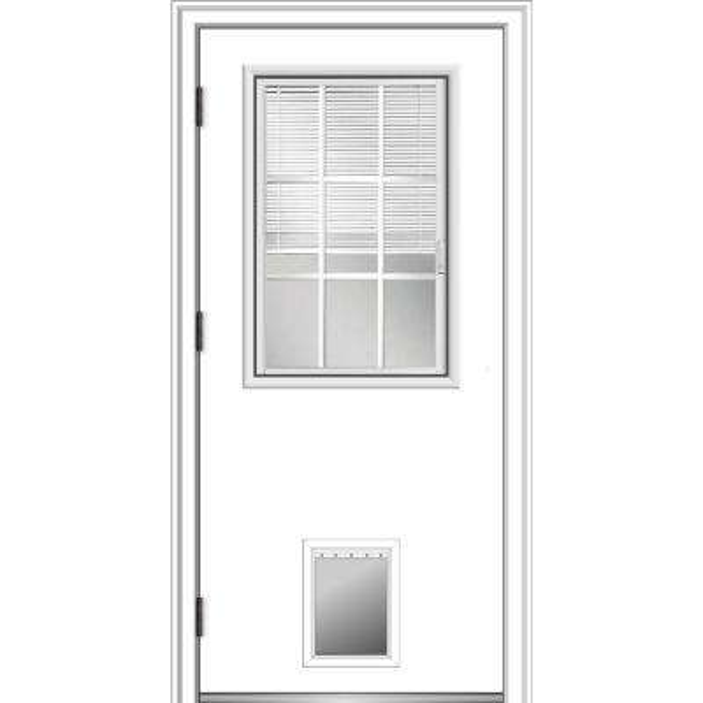 32 in. x 80 in. Internal Blinds/Grilles Right Hand Outswing 1/2 Lite Clear Primed Steel Prehung Front Door w/ Pet Door