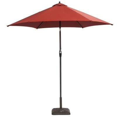 9 ft. Aluminum Solar Crank and Tilt Patio Umbrella in Chili