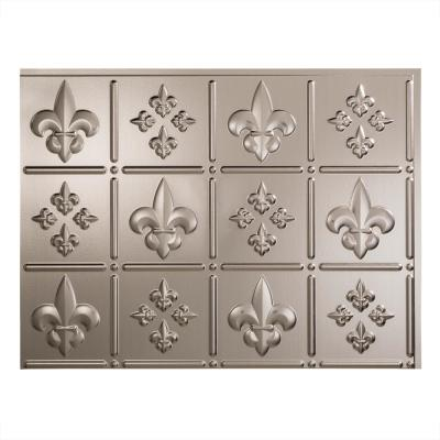 Fleur de Lis 18 in. x 24 in. Brushed Nickel Vinyl Decorative Wall Tile Backsplash 18 sq. ft. Kit