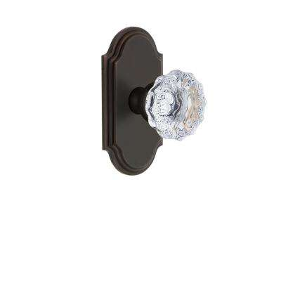 Arc Plate 2-3/4 in. Backset Timeless Bronze Privacy Bed/Bath with Fontainebleau Crystal Door Knob