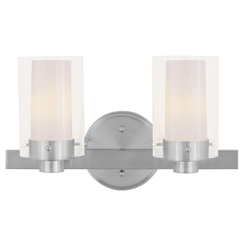 Livex Lighting Providence 2 Light Brushed Nickel Incandescent Bath Vanity Light 1542 91 The