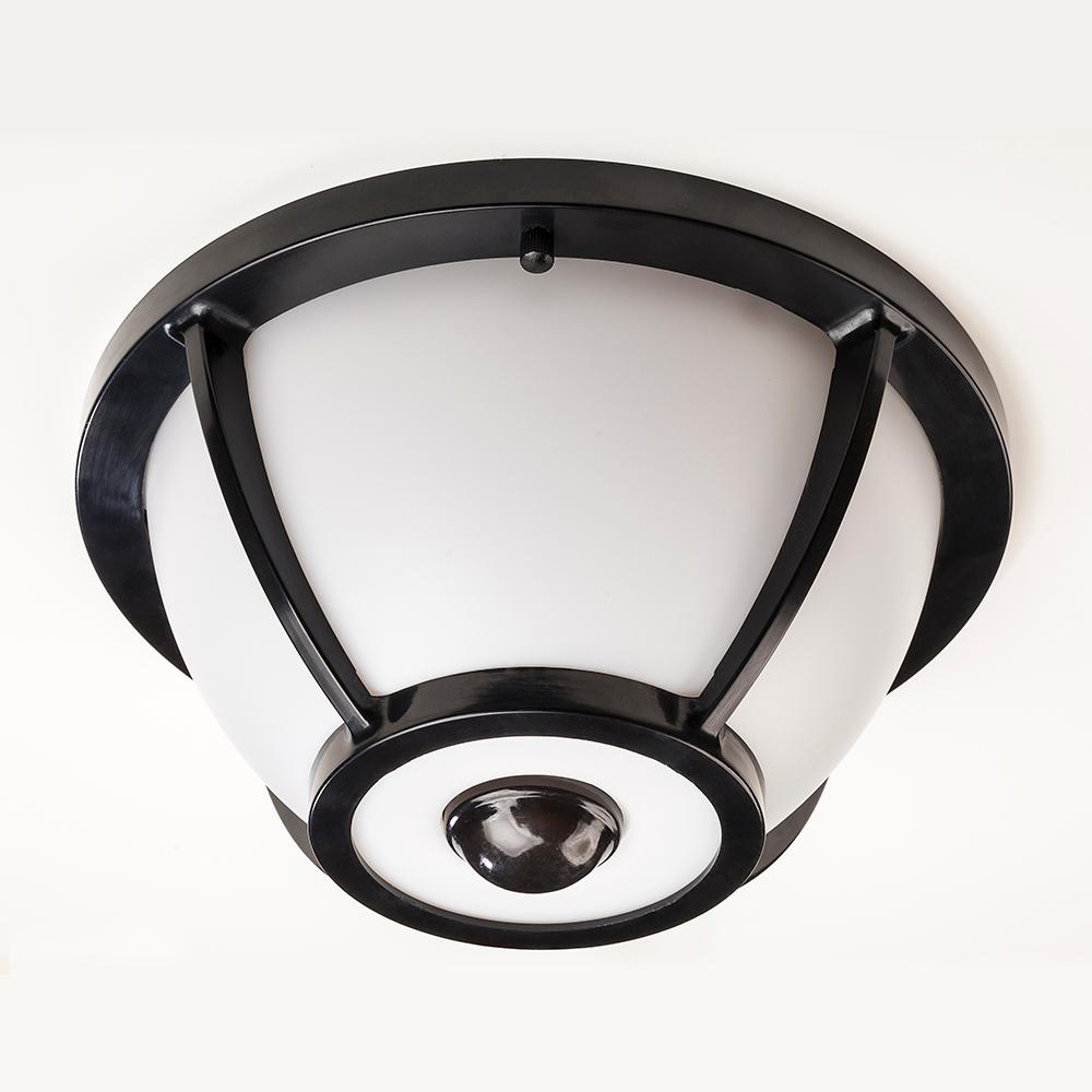 Hampton bay 360 degree matte black round integrated led motion hampton bay 360 degree matte black round integrated led motion sensing outdoor flush mount aloadofball