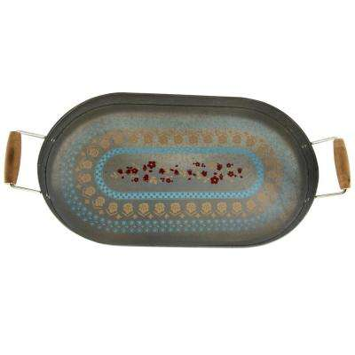 Hollydale Decorated Powder Coated Steel Serving Tray with Carrying Handles