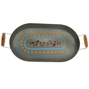Hollydale Decorated Powder Coated Steel Serving Tray with Carrying Handles by