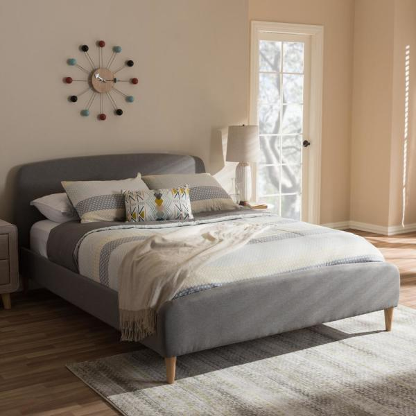 Mia Mid-Century Gray Fabric Upholstered Queen Size Bed