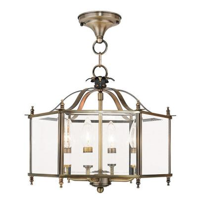 Livingston 4-Light Antique Brass Pendant