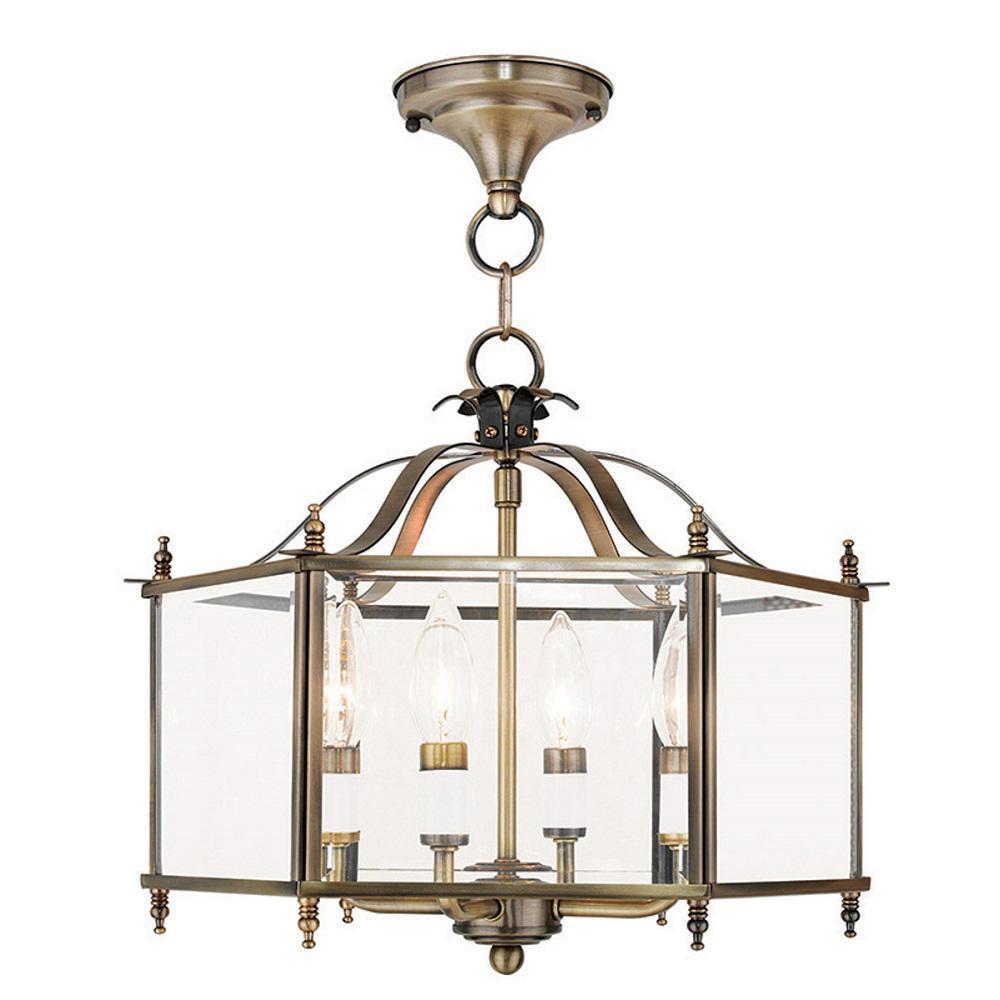 Livingston 4-Light Antique Brass Pendant