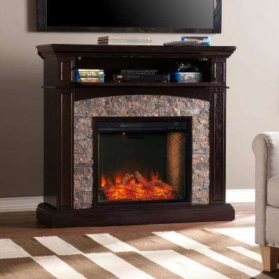 Varrisdale Alexa-Enabled 45.5 in. Convertible Electric Smart Fireplace in Ebony and Black with Faux River Stone