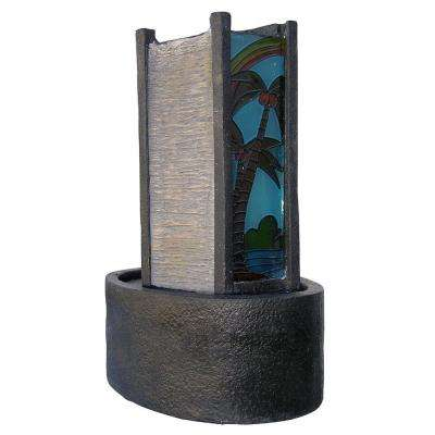 11 in. Grey Stone Palm Tree Glass Fountain with Light Small