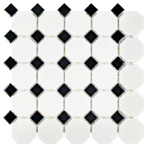 Merola Tile Metro Octagon Matte White and Black 11-1/2 in. x 11-1/2 ...