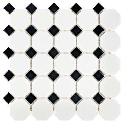 Metro Octagon Matte White and Black 11-1/2 in. x 11-1/2 in. x 5 mm Porcelain Mosaic Tile (9.2 sq. ft. / case)