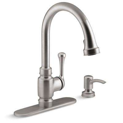 Carmichael Single Handle Pull Down Sprayer Kitchen Faucet In Stainless Steel