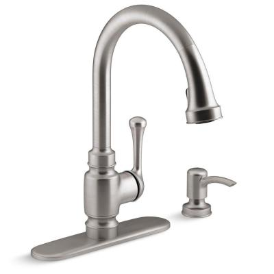 Carmichael Single-Handle Pull-Down Sprayer Kitchen Faucet in Stainless Steel