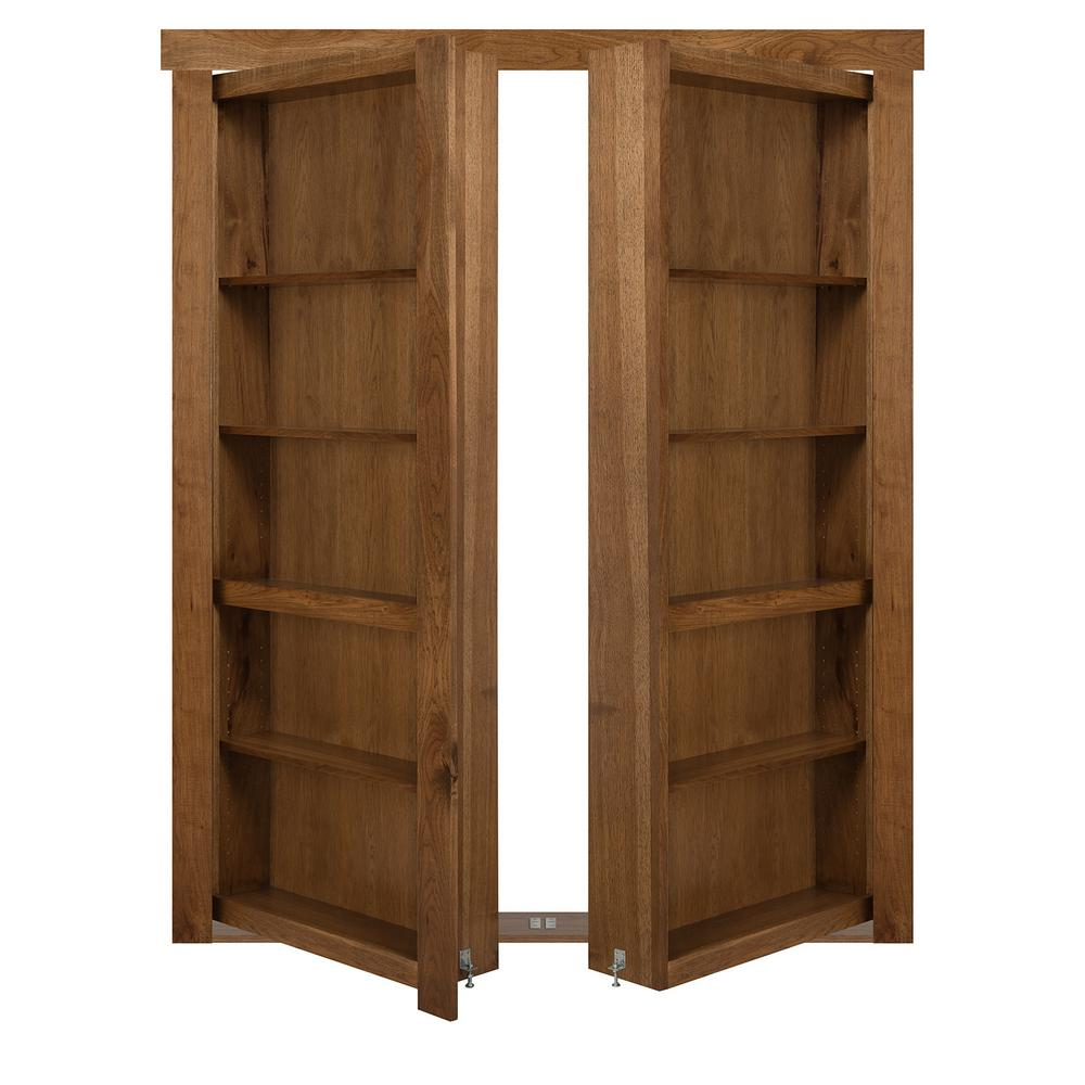 The Murphy Door 60 in. x 80 in. Flush Mount Assembled Hickory Medium Stained Out-Swing Solid Core Interior French Bookcase Door